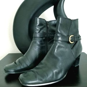 Anne Klien Black Leather Ankle Boots Size 10M